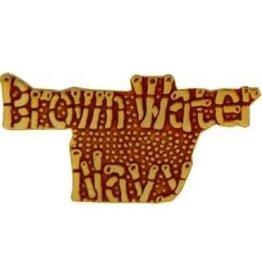 "Brown Water Navy Text Pin 1 1/4"""