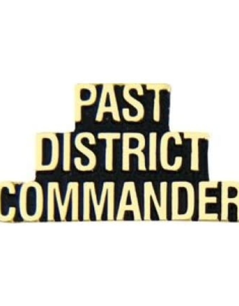 "MidMil Pin Titles Script Commander District Past (G) 1 1/4"""