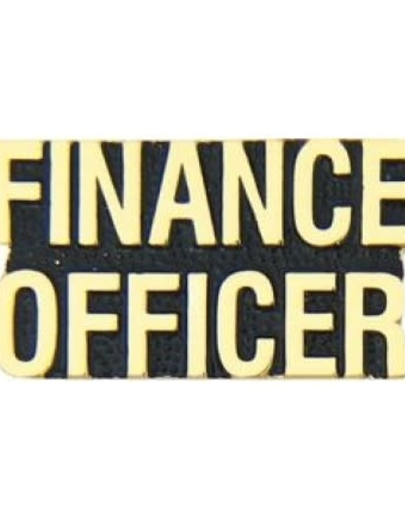 """MidMil Finance Officer Text Pin 1 1/8"""""""