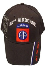 MidMil Army 82nd Airborne Hat with Emblem and Shadow and Motto on Bill Black
