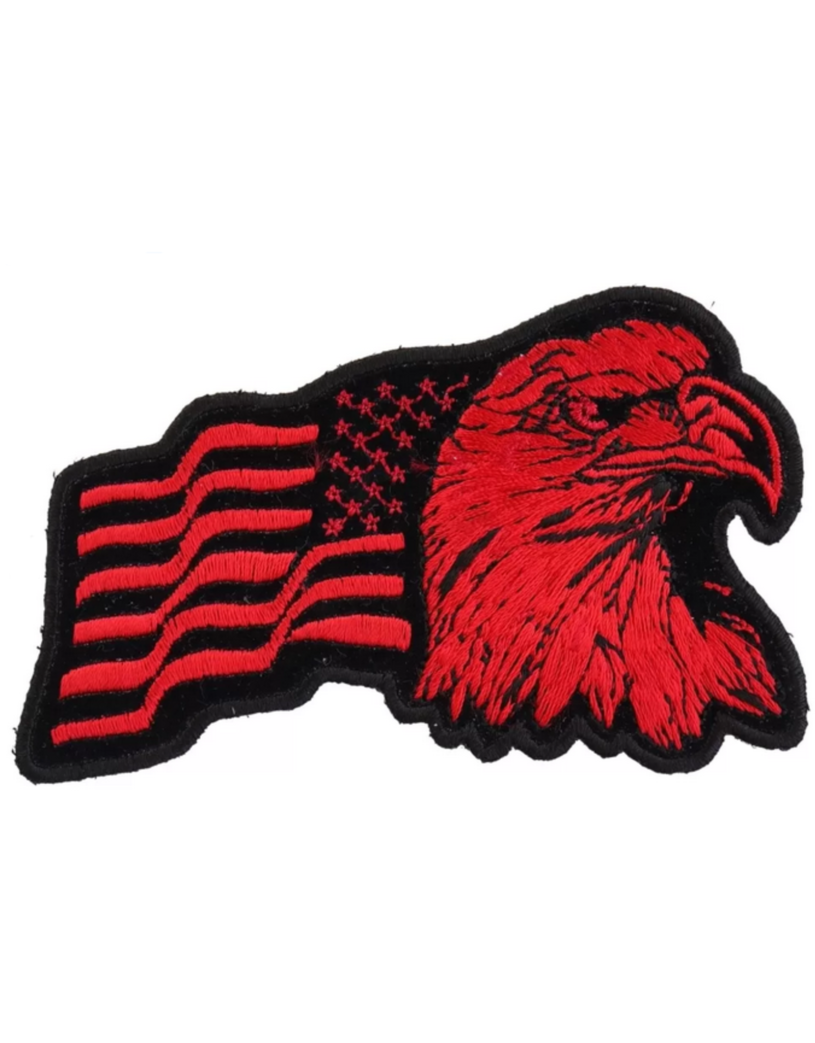"""MidMil Embroidered Reverse Eagle Head with Wavy American Flag Red on Black Patch 3.8"""" wide x 2.3"""" high"""