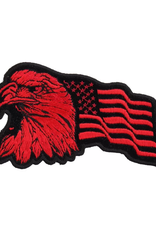"MidMil Embroidered Eagle Head with Wavy American Flag Red on Black Patch 3.8"" wide x 2.3"" high"