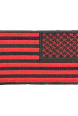 "MidMil Embroidered Reversed American Flag Red on Black 4"" wide x 2.5"" high"