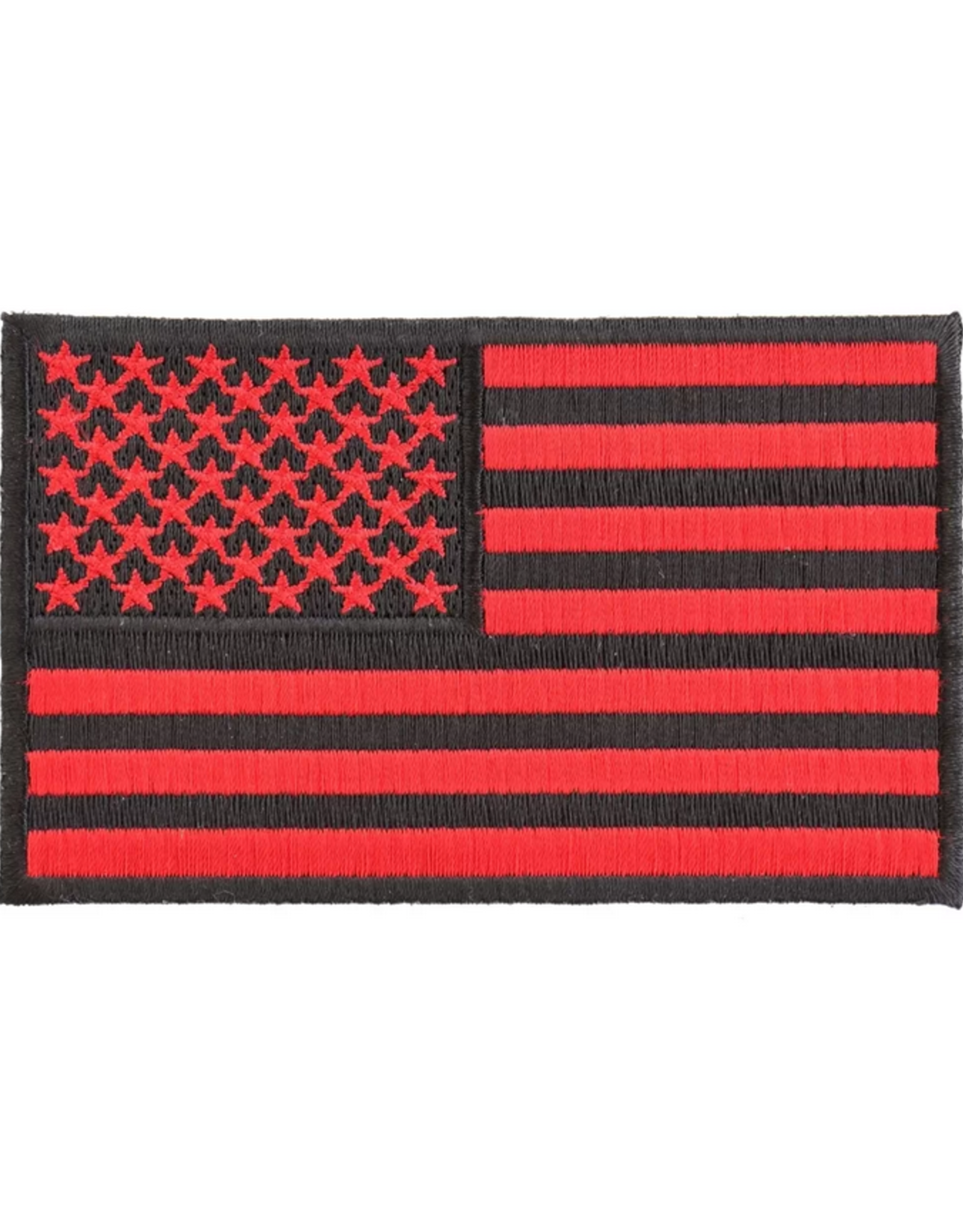 """MidMil Embroidered American Flag Red on Black 4"""" wide x 2.5"""" high"""