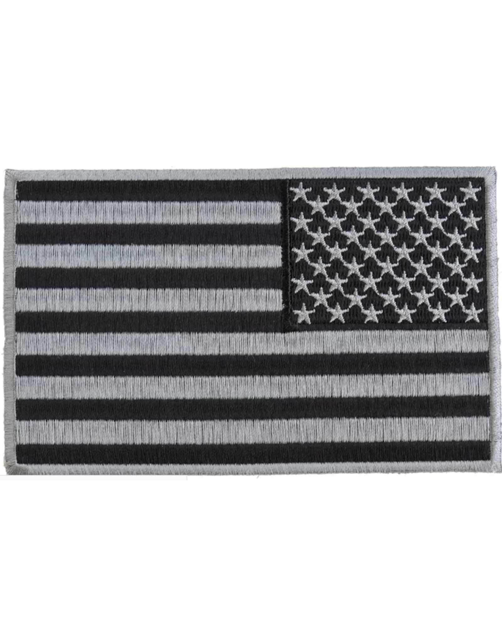"MidMil Embroidered Reverse American Flag Black & Silver Patch 5"" wide x 3"" high"