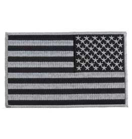 "Embroidered Reverse American Flag Black & Silver Patch 5"" wide x 3"" high"
