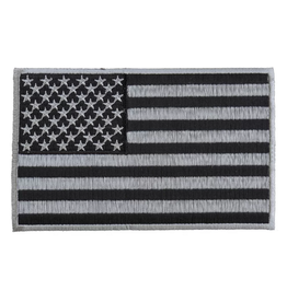 Embroidered American Flag Black & Silver Patch