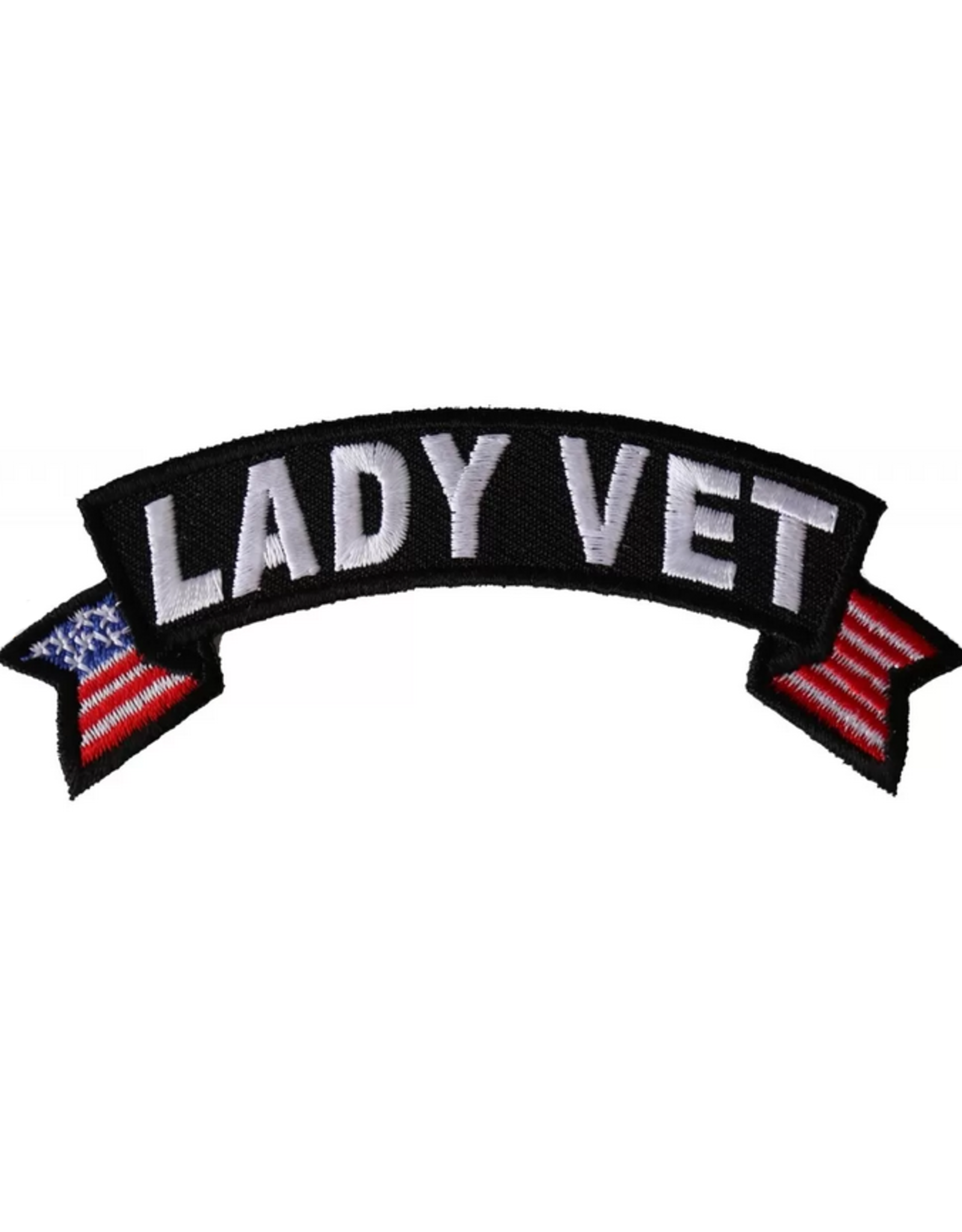 """MidMil Embroidered Lady Vet Tab Patch w/ USA tails 4"""" wide x 1.5"""" high"""