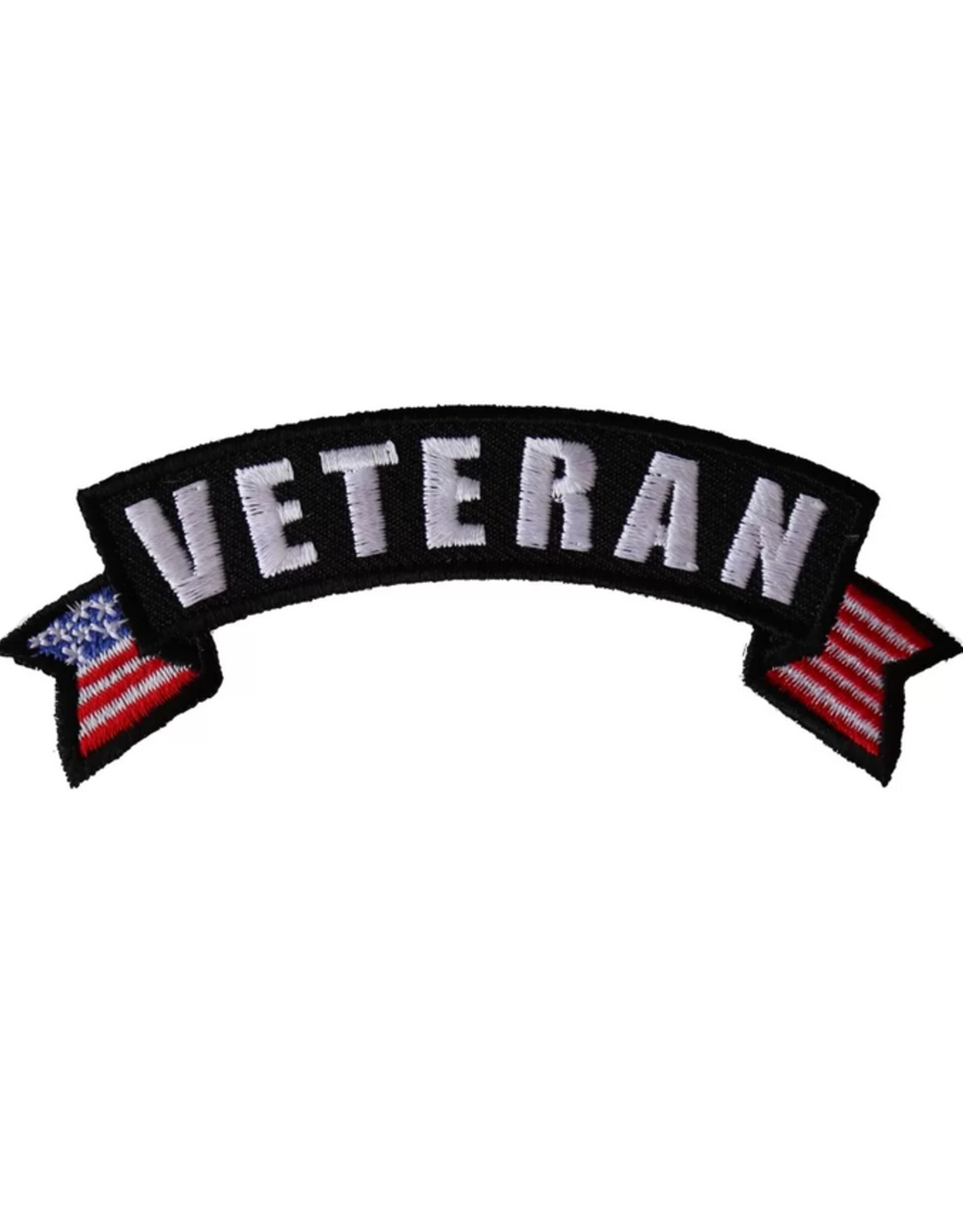 "MidMil Embroidered Veteran Tab Patch with USA tails 4"" wide x 1 1/2"" high"