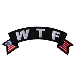 """Embroidered """"W T F"""" Tab Patch with USA tails 4"""" wide x 1.5"""" high"""