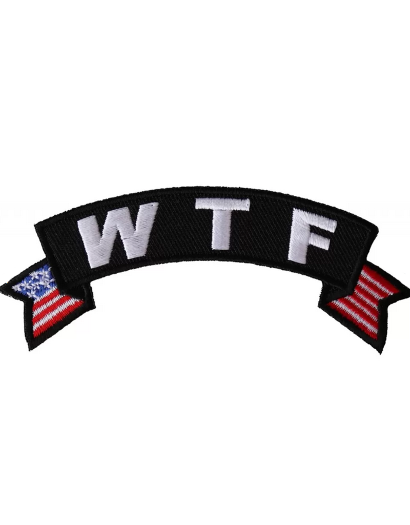 "MidMil Embroidered ""W T F"" Tab Patch with USA tails 4"" wide x 1.5"" high"