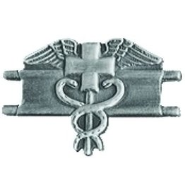 "MidMil Army Expert Medic Pin 1 1/4"" Antique Silver"