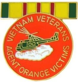 MidMil Vietnam Veteran Agent Orange Victims Pin with Ribbon 1""