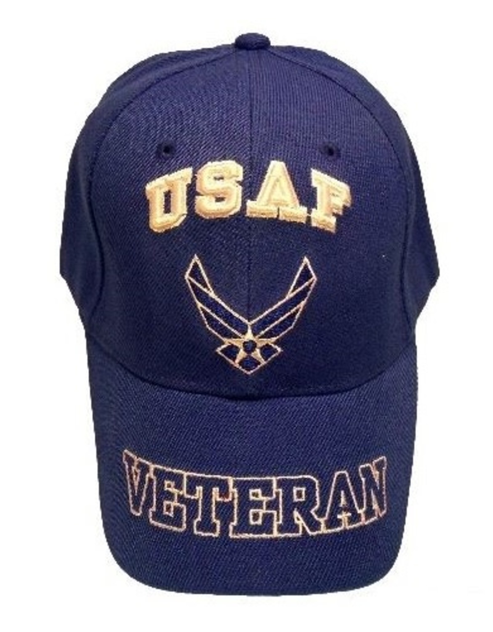 MidMil Air Force Veteran Hat with Wing Emblem and Veteran Outline on Bill Royal