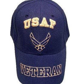 Air Force Veteran Hat with Wing Emblem and Veteran Outline on Bill Royal