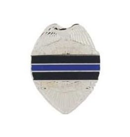 MidMil Police Badge Pin with Thin Blue Line 1""