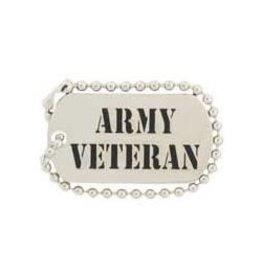 """Army Veteran Dog Tag Pin 1 1/4"""""""