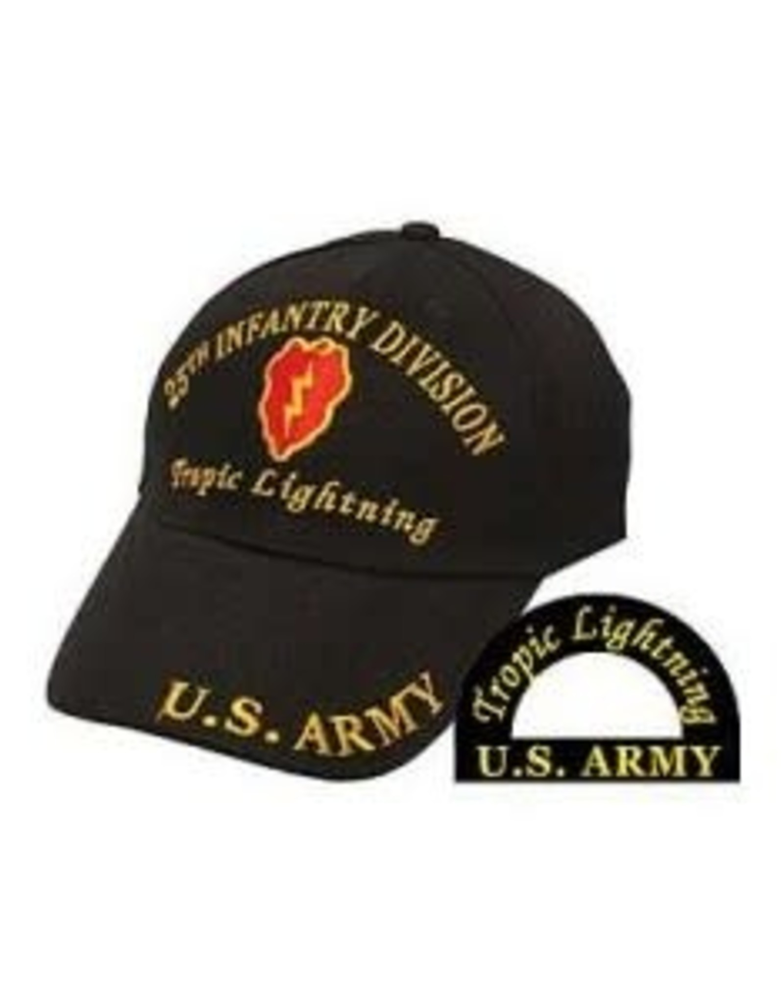 """MidMil Army 25th Infantry Division Hat with Emblem and """"Tropic Lightning"""" Motto Black"""
