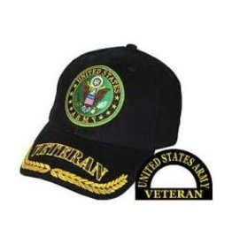Army Veteran Hat with Seal and Wheat on Bill Black