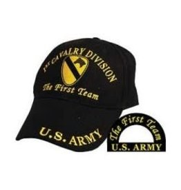 Army 1st Cavalry Division Hat with Emblem Motto Black