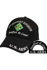 MidMil Army 4th Infantry Division Hat with emblem and Motto Black