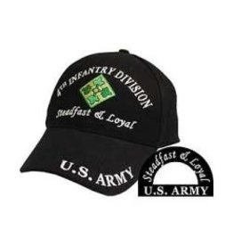 Army 4th Infantry Division Hat with emblem and Motto Black
