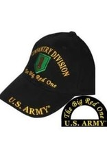 "MidMil Army 1st Infantry Division Hat with Emblem and ""Big Red One"" Motto Black"