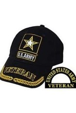 MidMil Army Veteran Hat with Star Emblem and Wheat on Bill Black