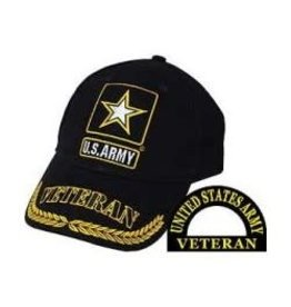 Army Veteran Hat with Star Emblem and Wheat on Bill Black