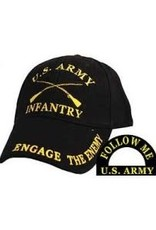 """MidMil Army Infantry Hat with Emblem and """"Engage The Enemy"""" on bill  Black"""