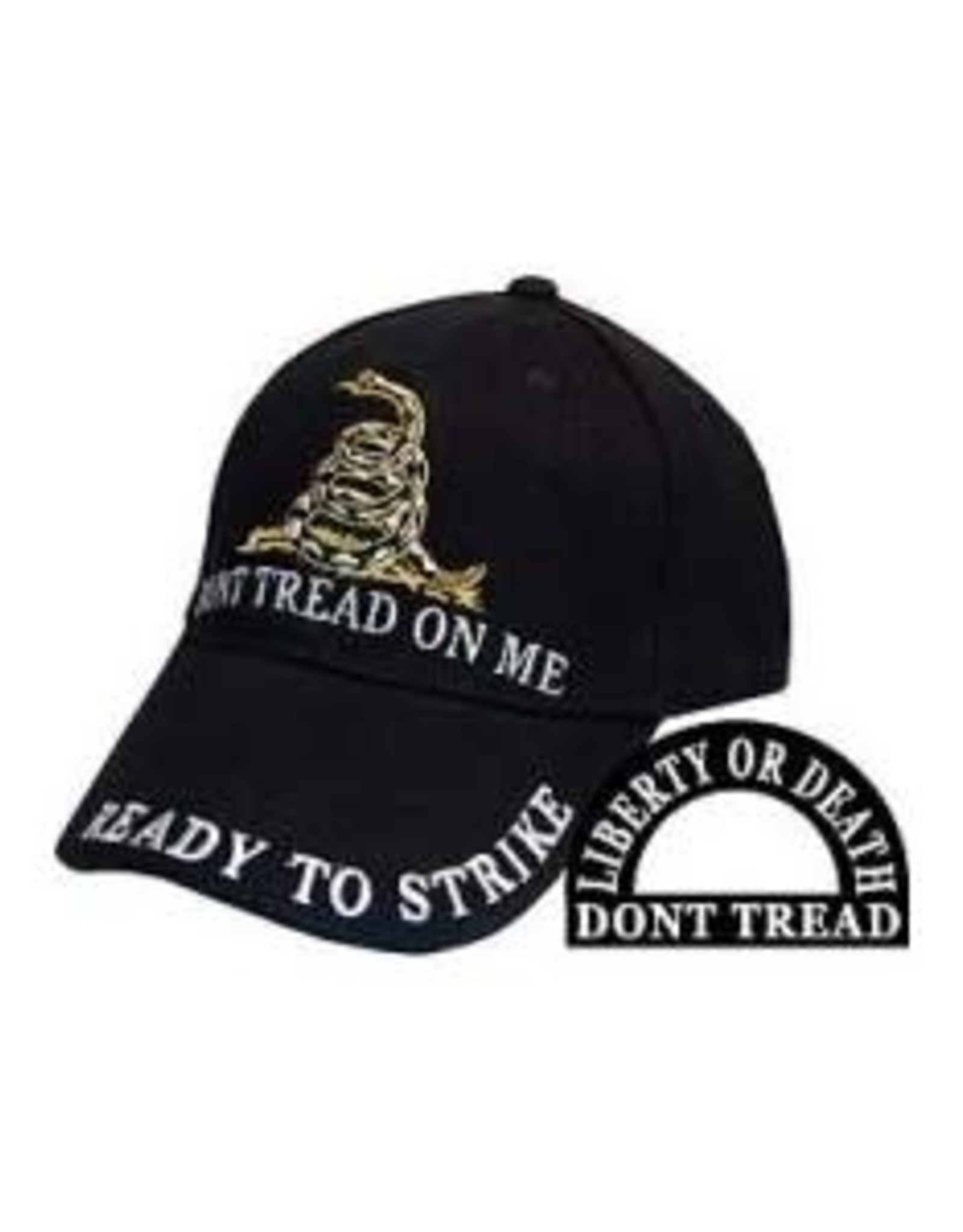 """MidMil Don't Tread on Me Hat with coiled snake and """"Ready to Strike"""" Black"""