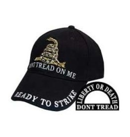 """Don't Tread on Me Hat with coiled snake """"Ready to Strike"""" Black"""
