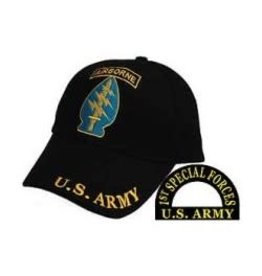 Army Special Forces Hat with Arrowhead Airborne Emblem Black