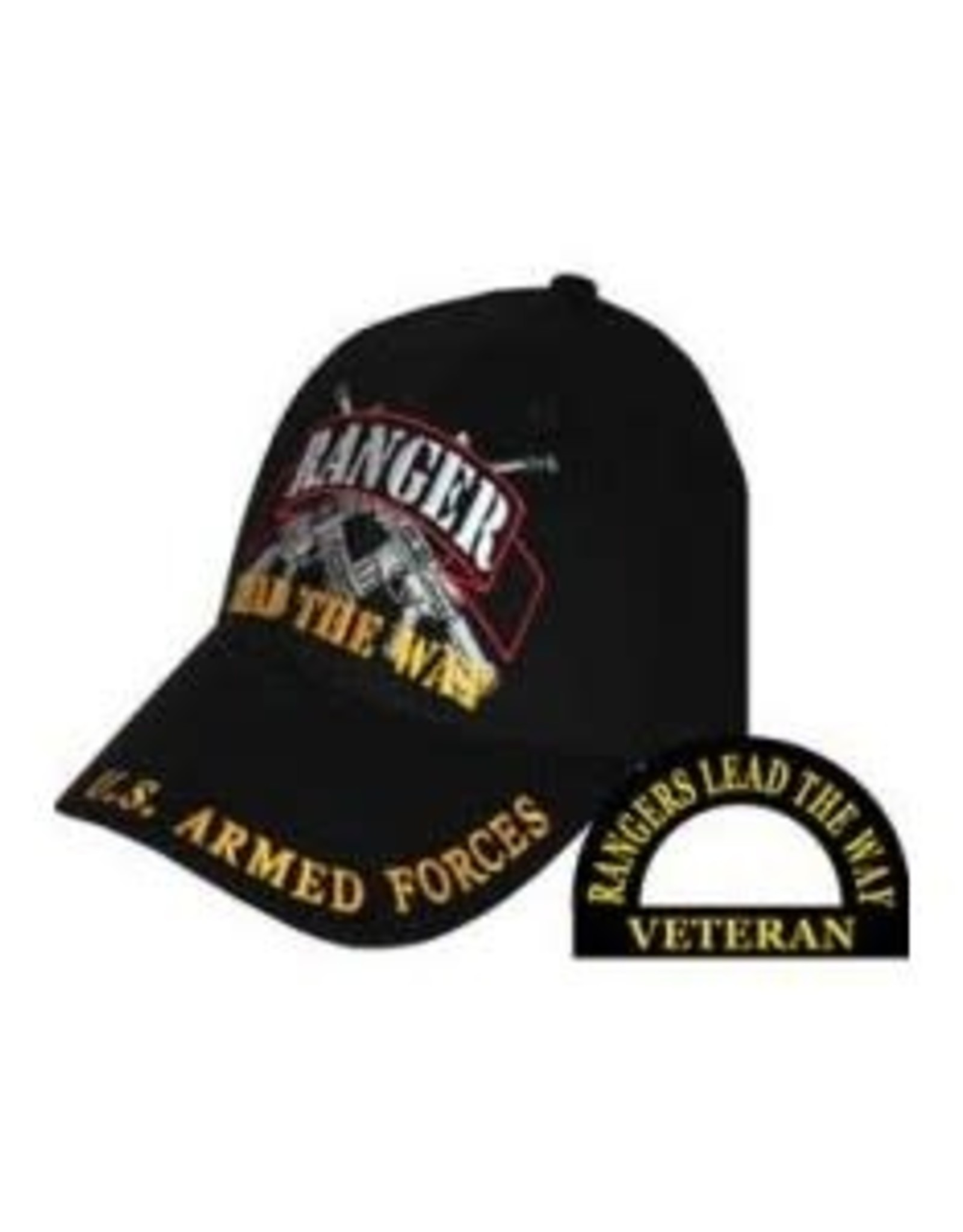 "MidMil Army Ranger Hat with Crossed Rifles and ""Lead the Way"" Motto Black"