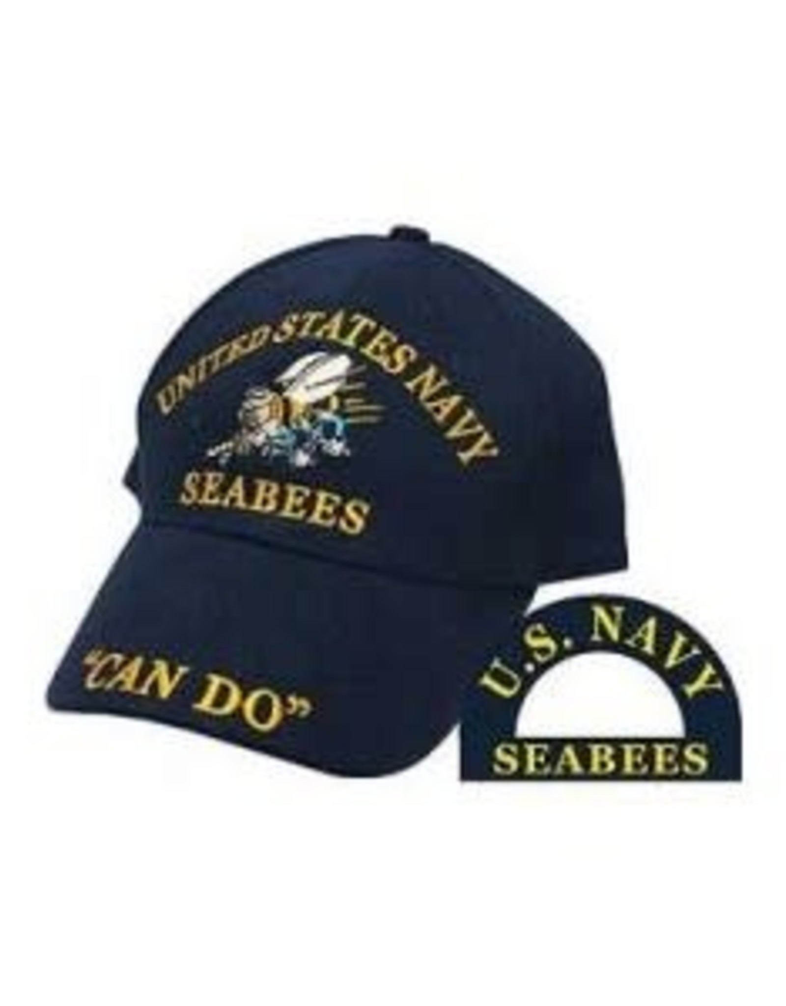 "MidMil Navy Seabees Hat with Emblem and ""Can Do"" Dark Blue"