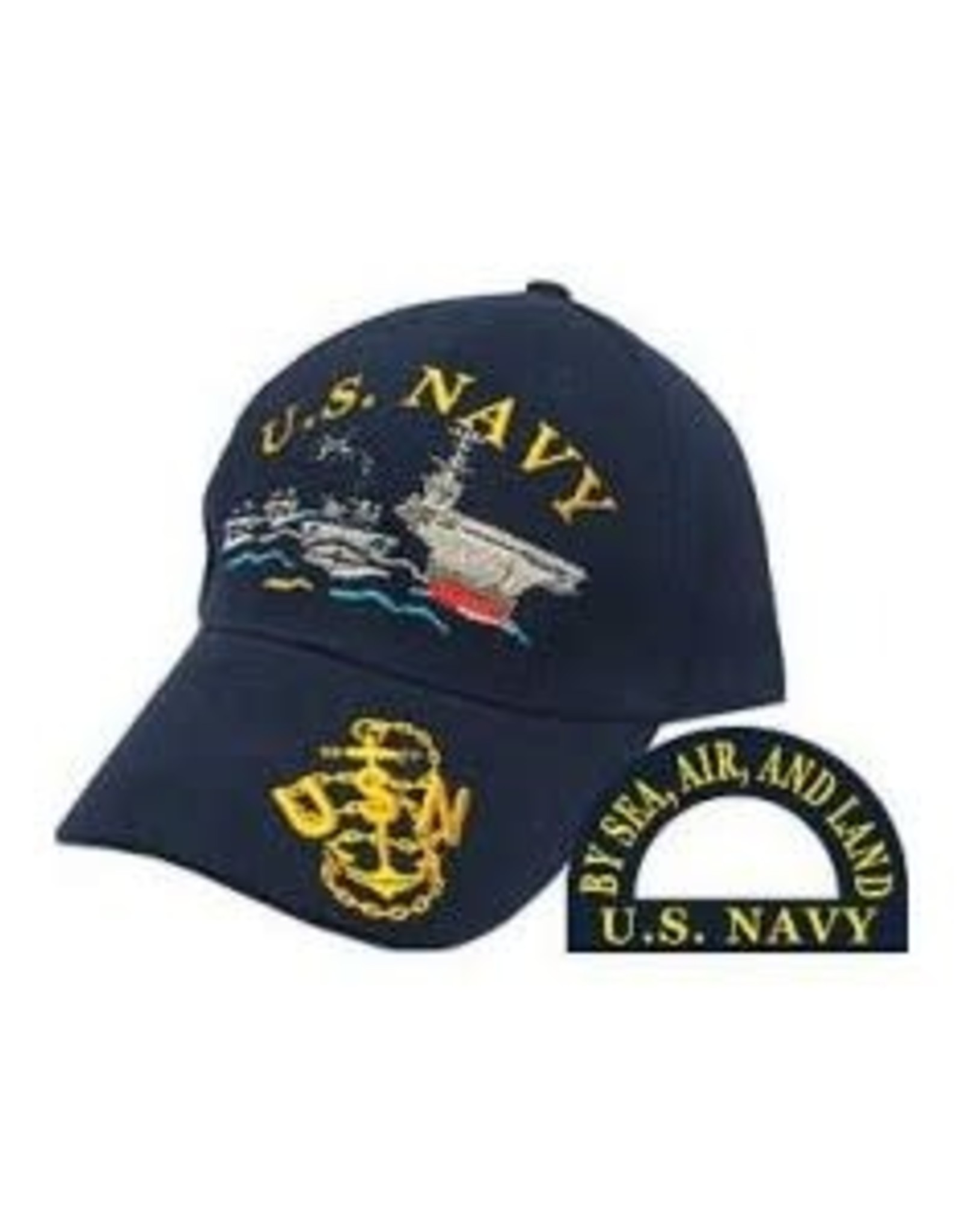 MidMil Navy Embroidered Ships Hat Dark Blue