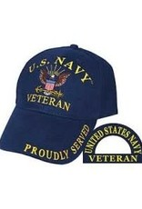 MidMil Navy Veteran Hat with Eagle on Anchor Dark Blue