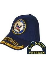 MidMil Navy Veteran Seal Hat with Veteran and Wheat on Bill Dark Blue