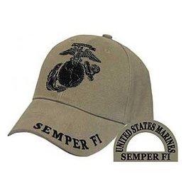 MidMil Marine Corps Globe and Anchor Hat Dark Khaki