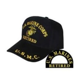 MidMil Marine Corps Retired Hat with Globe & Anchor Emblem Black