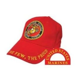 "MidMil Marine Hat with Seal and ""The Few, The Proud"" Motto Red"