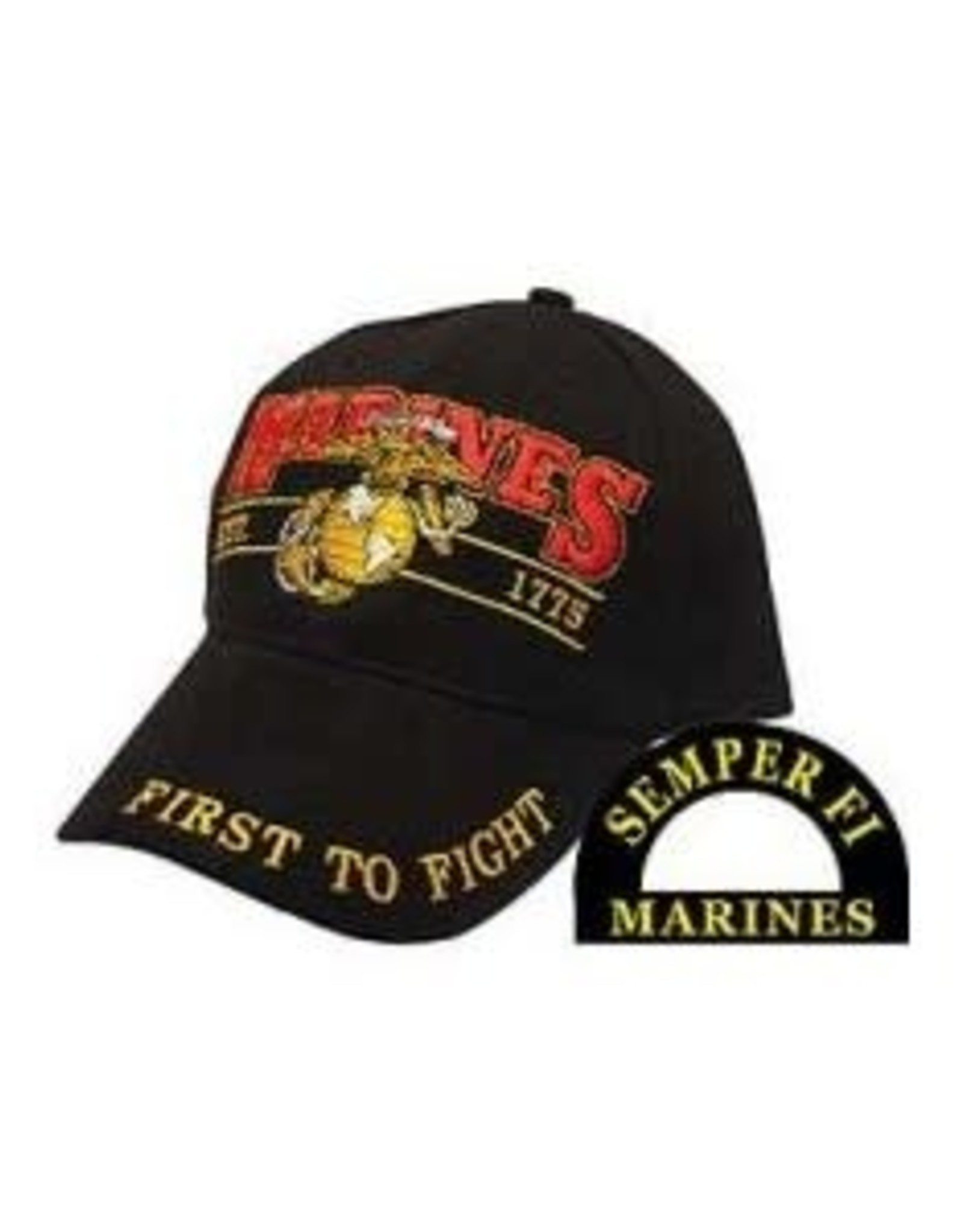 """MidMil Marines Hat with Globe and Anchor emblem """"First to Fight"""" Black"""
