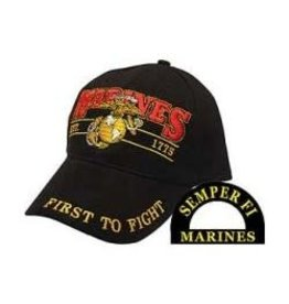 "MidMil Marines Hat with Globe and Anchor emblem ""First to Fight"" Black"