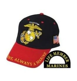 MidMil Marine Corps Globe and Anchor Hat Black/Red