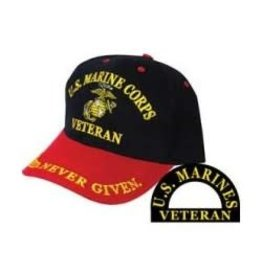 MidMil Marine Corps Veteran Hat with Globe & Anchor Emblem Black/Red