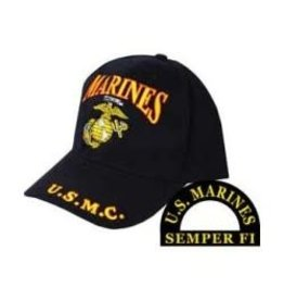 MidMil Marines Hat with Globe & Anchor Emblem Black
