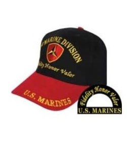 "MidMil 3rd Marine Division Hat with emblem ""Fidelity Honor Valor"" Black with Red bill"