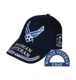 MidMil Air Force Woman Veteran Hat Wing Emblem Dark Blue
