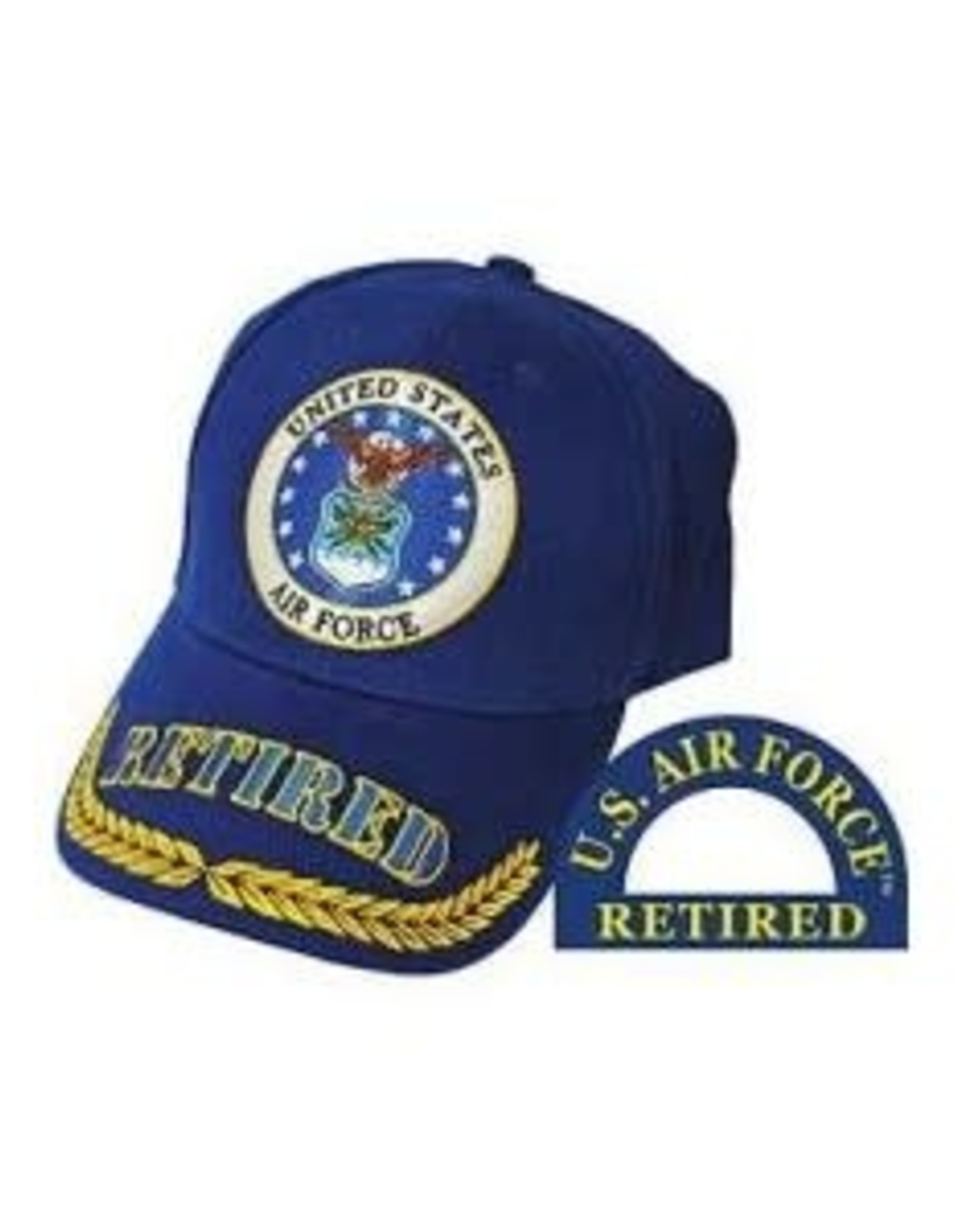 MidMil Air Force Retired Hat with Seal and Wheat on Bill Royal Blue