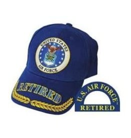 Air Force Retired Hat with Seal and Wheat on Bill Royal Blue